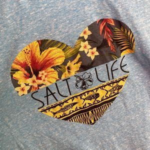 Salt Life Tops - Salt Life Bright Blue Tank w Floral Heart
